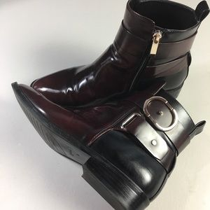 Zara Brown and Black Ankle Buckle Boots👢👢👢